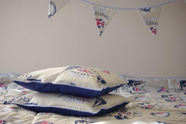 kapa na łóżko ikea , kapa patchwork, kapa w stylu marynistycznym, kapa styl marynistyczny