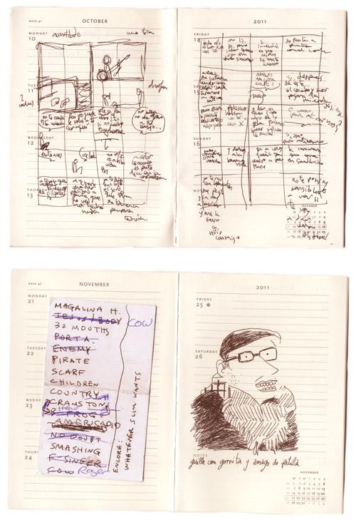 Bocetos para cenizas en un cuaderno de álvaro ortiz