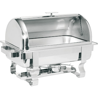Chafing Dish din Otel Cromat cu Capac RollTop, Pret Chafing Dish Profesional HoReCa cu Capac Rabatabi