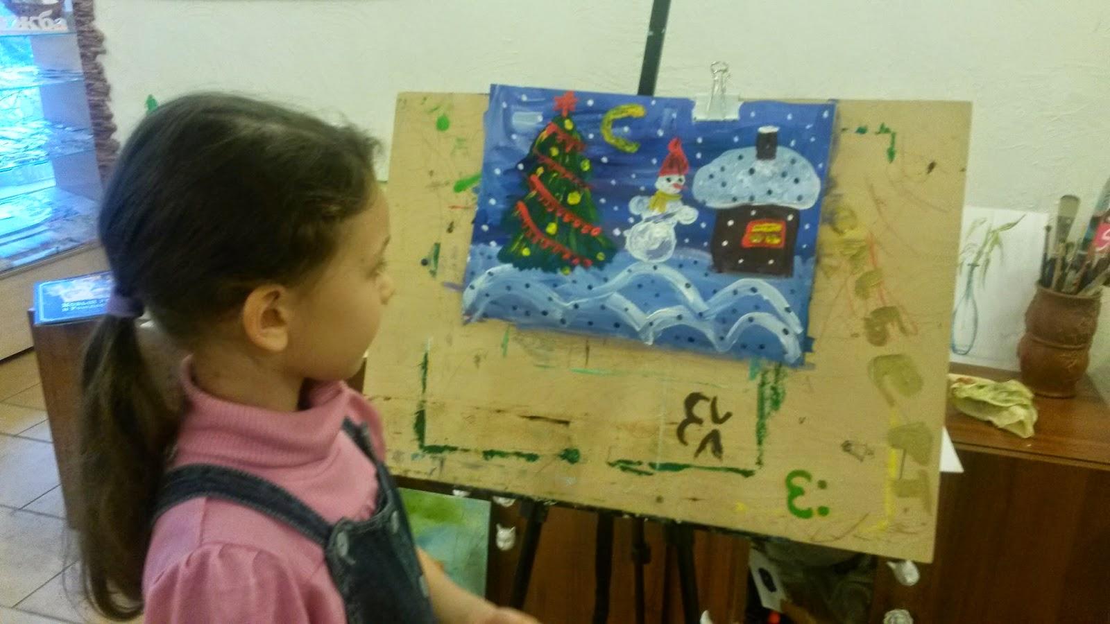 рисунок к новому году с детьми 7-8 лет ночной пейзаж елка снеговик