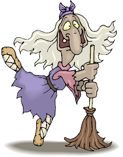 Witch Dance with Her Broom Halloween Clipart