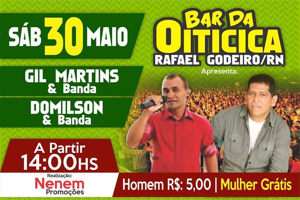 É Neste Sábado, 30/05 Domilson & Banda no Bar da Oiticica em Rafael Godeiro/RN