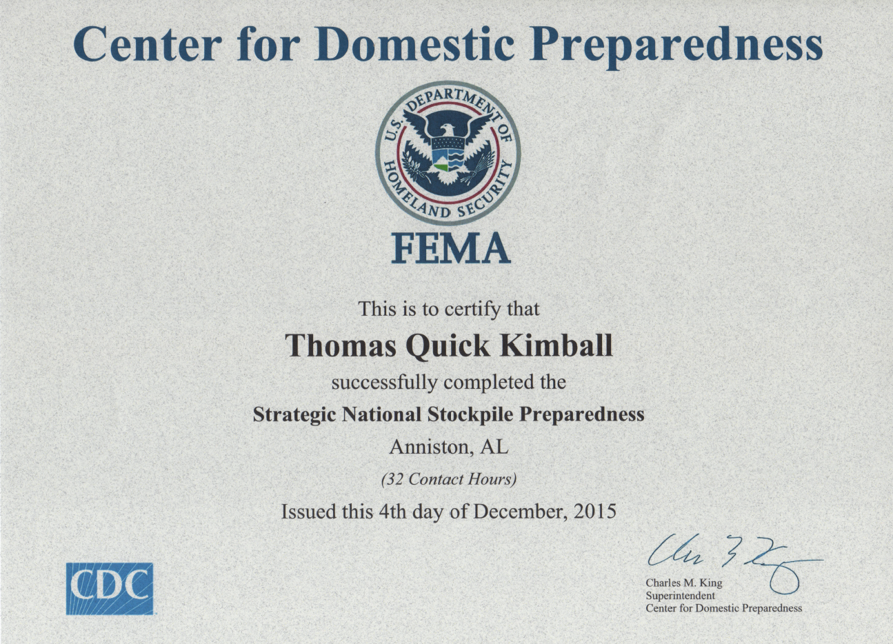 Strategic National Stockpile (SNS) Preparedness Course 16-01 SNS Nov 30th-Dec 5th 2015