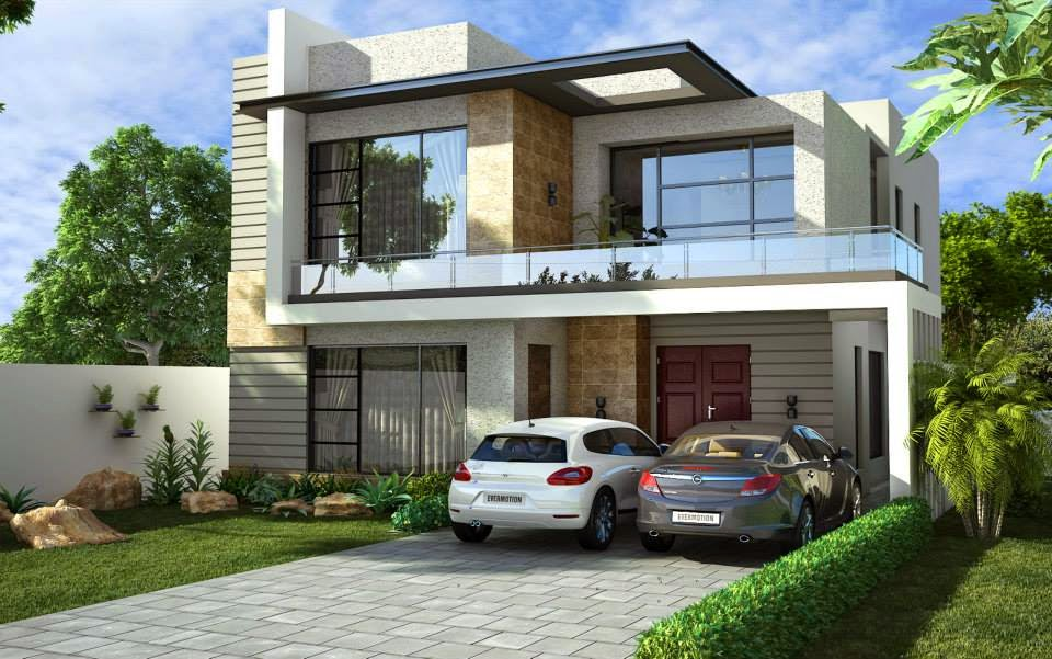 One kanal house design 3d front design blog for 5 marla house modern design