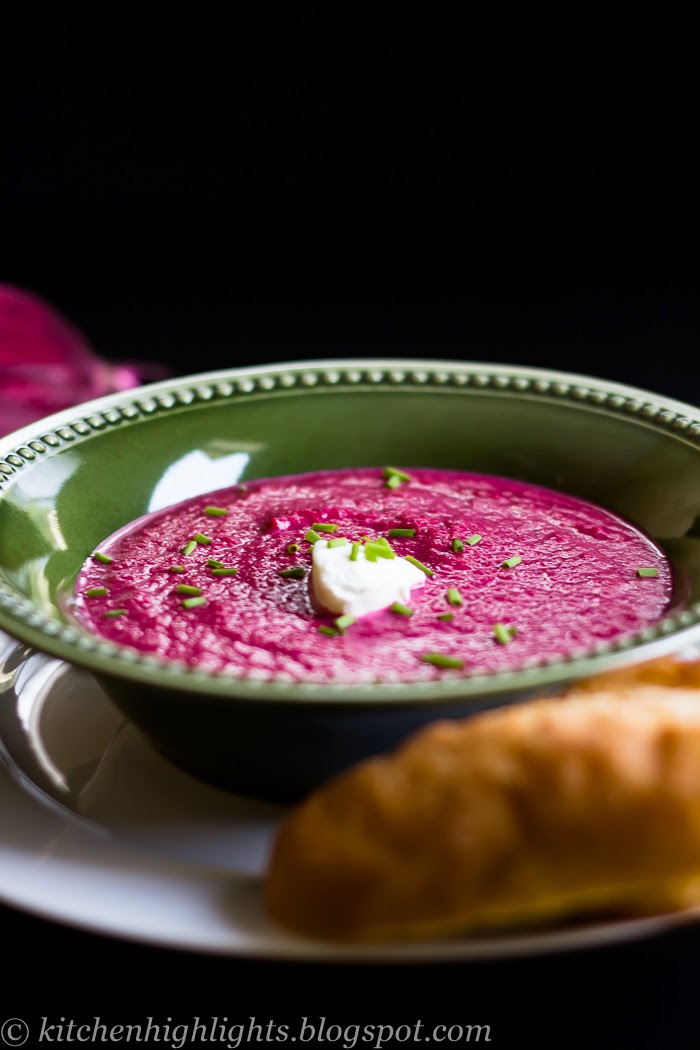 Roasted beetroot soup has not only a wonderful vibrant color but it's delicious too