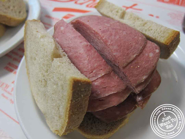 Image of salami sandwich at Schwartz's delicatessen in Montreal, Canada