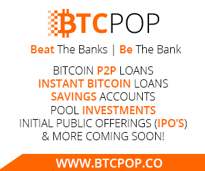 احصل الان على قرض يصل الى 100بيتكوين مع Btcpop