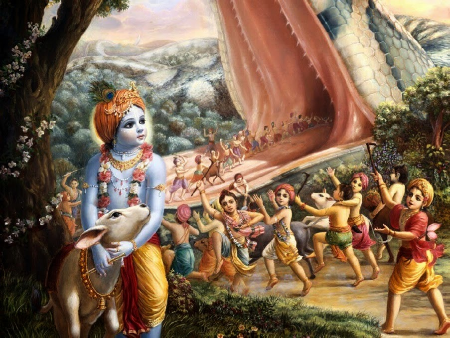 Lord Krishna Killed Aghasura and rekindled life in his dead friends