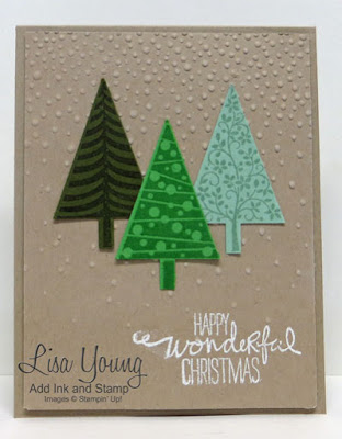 Stampin' UP! Festival of Trees stamp set. Kraft Christmas card with 3 green trees. Clean and simple Christmas card. Handmade card by Lisa Young, Add Ink and Stamp