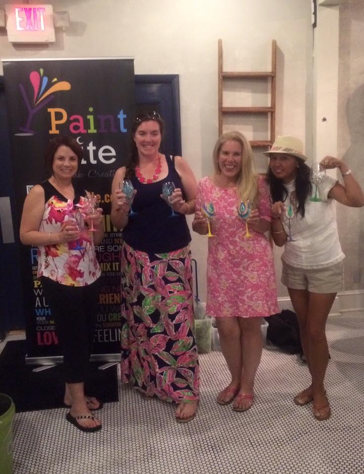 Maryland pink and green paint nite for Wine and paint orlando