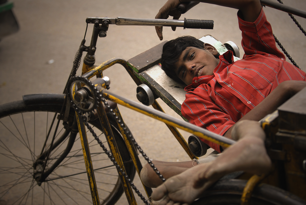 Boy with polio in India