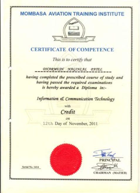 Dharmesh Fernandes Patel - Certificates