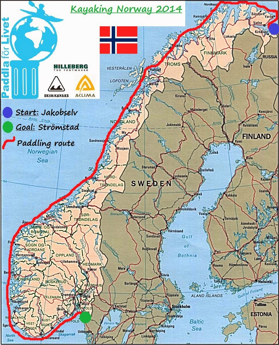 Kayaking Norway The Expedition - Norway map 2014