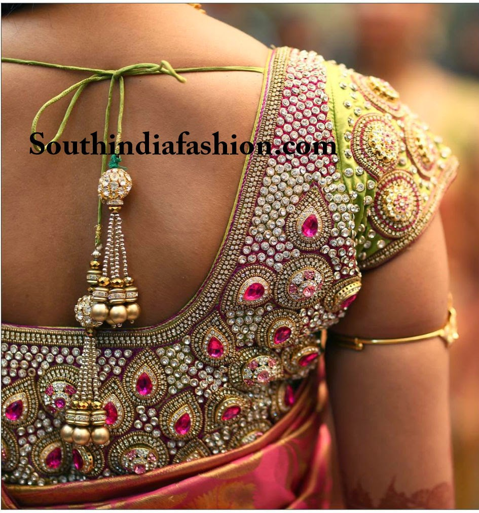 stone work bridal sare eblouse