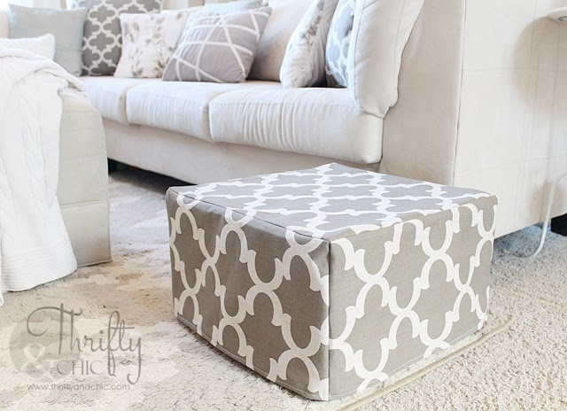 DIY Ottoman or floor pouf made from mattress cubes!