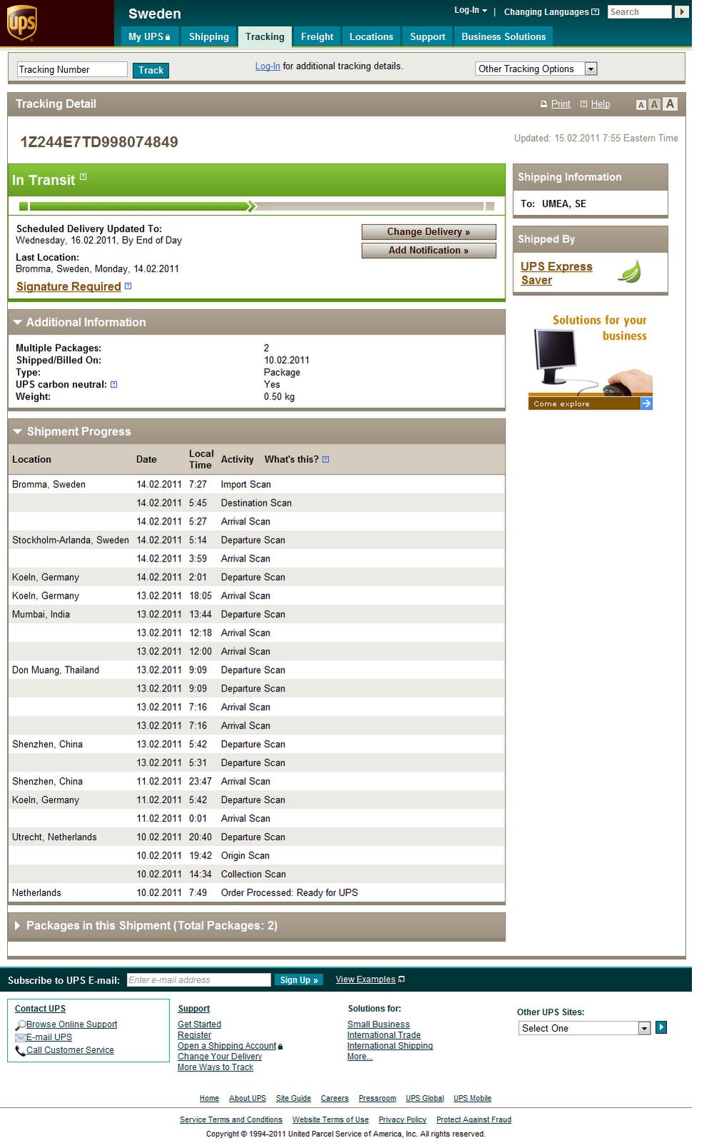 UPS Tracking info - FAIL