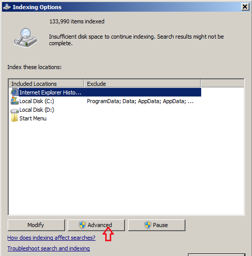Change the location of Windows Search Index