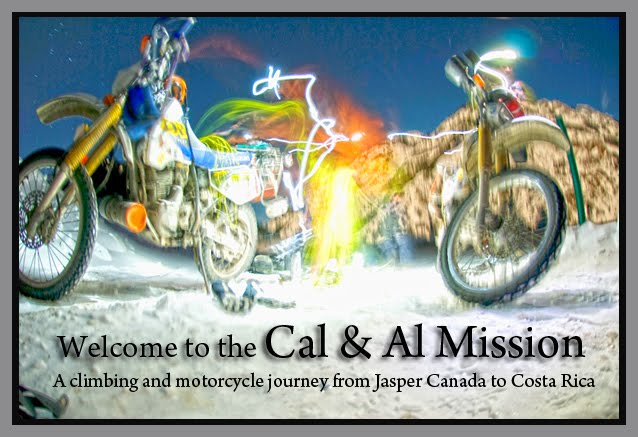 Cal & Al Mission on motorbikes... a journey from Jasper Canada to Costa Rica