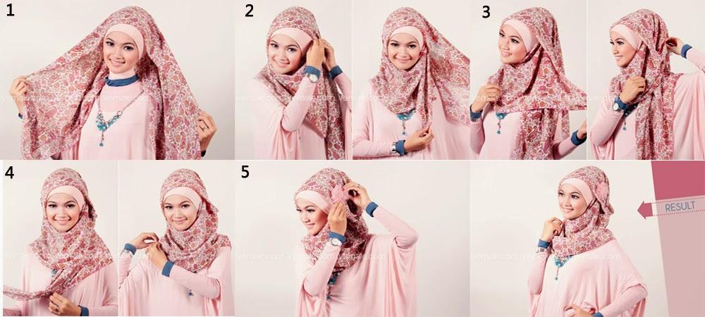 Tutorial Jilbab Segi Empat Untuk Wajah Bulat
