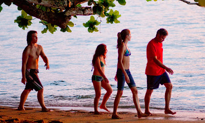 Los Descendientes - Nick Krause (Sid), Amara Miller (Scottie King), Shailene Woodley (Alexandra King) y George Clooney (Matt King)