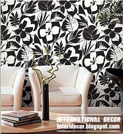 Modern Living Room Wallpaper Black And White Design Ideas