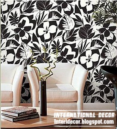 Modern living room wallpaper design ideas interior Black and white living room wallpaper