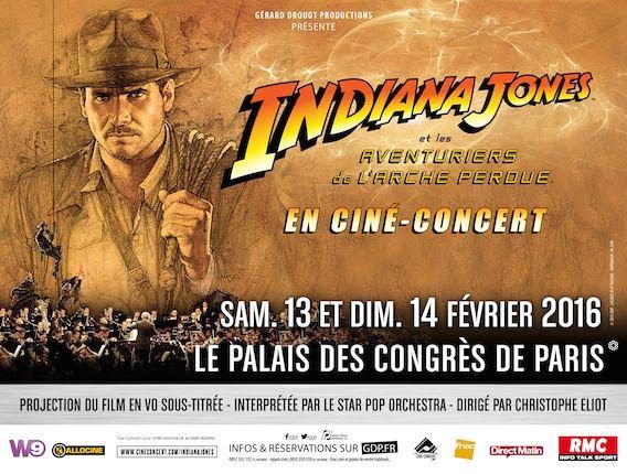 Indiana Jones en ciné-concert les 13 et 14 février 2016 au Palais des Congrès de Paris