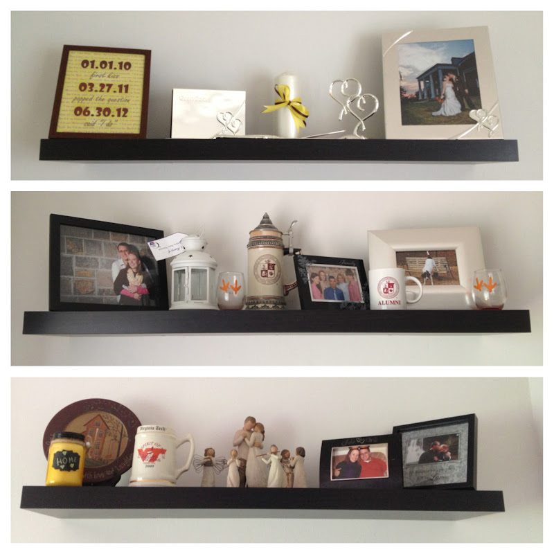 Top: Wedding day items and sits above the TV