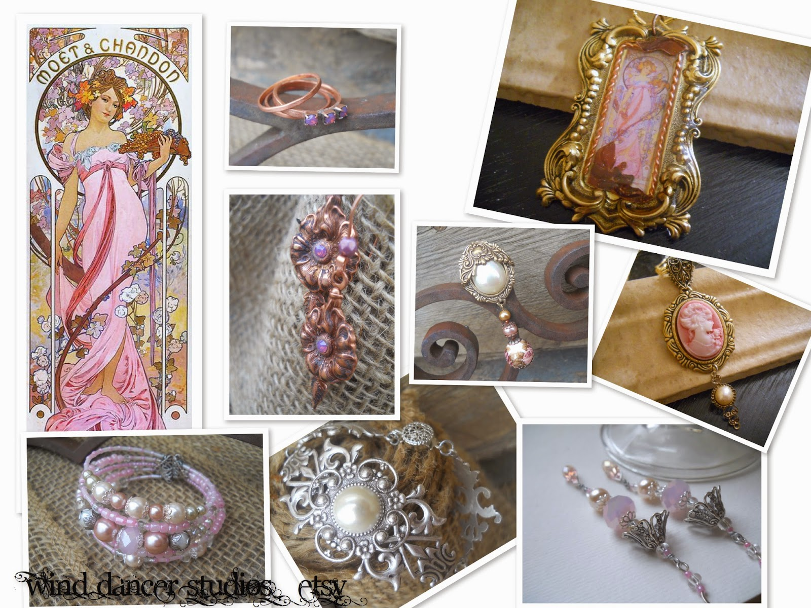 mucha's musings:  Pink Champagne collection, hand crafted jewelry by Wind Dancer Studios on Etsy