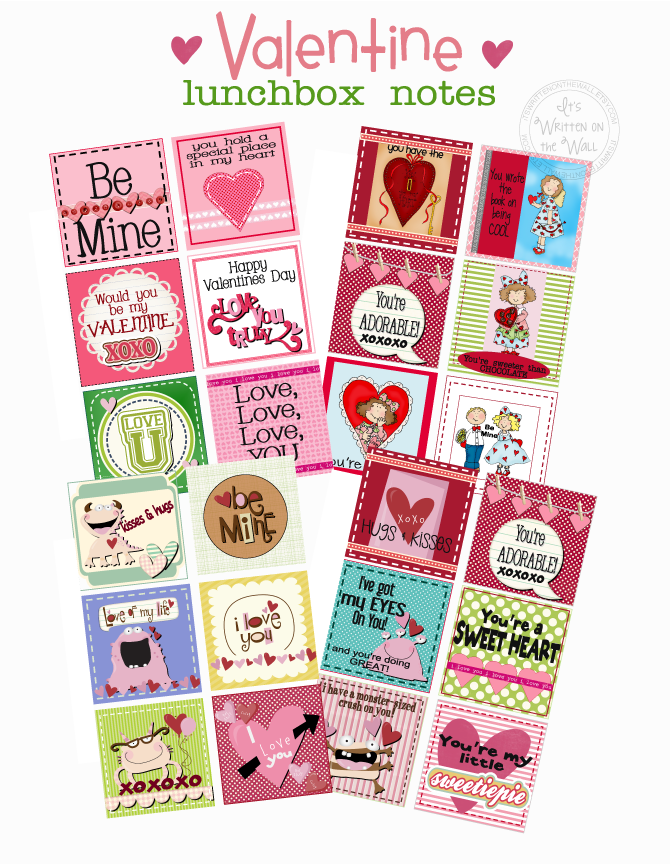 (Freebie) 24 Valentine's Day Lunchbox Notes-Kids Love them!