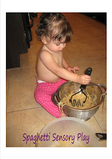 Spaghetti Toddler Sensory play