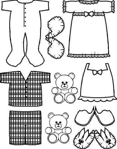 Manualidades para niños: Recortables para colorear de ropa pijamas
