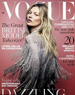 Kate Moss on the front cover of Vogue Magazine for May‭ ‬2014‭ ‬issue.