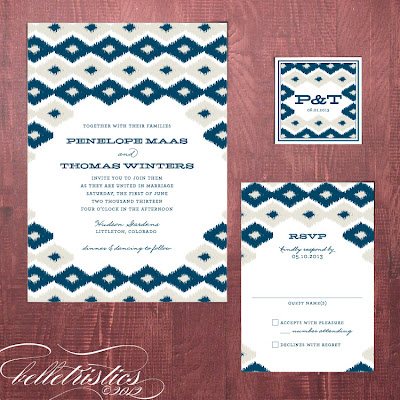 bold modern ikat printable invitation design
