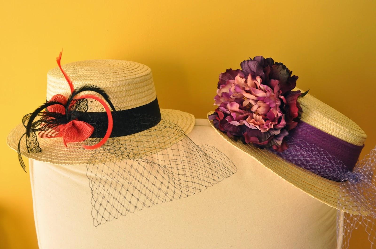 sombreros canotier para bodas económicos, plumas, tul