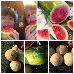 Yum, watermelon and cantaloupe