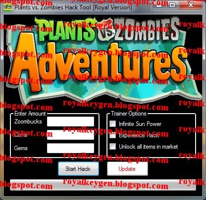 Plants vs zombies adventures hack tool free download 2013