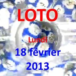 Résultat du LOTO - tirage du lundi 18 février 2013