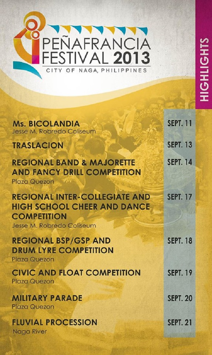 Peñafrancia Festival 2013 Activity Schedule