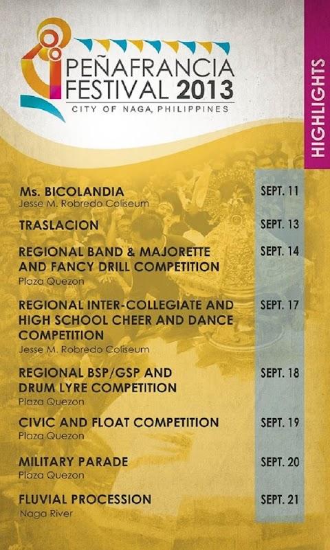 Peñafrancia Festival 2013 Activity Schedule