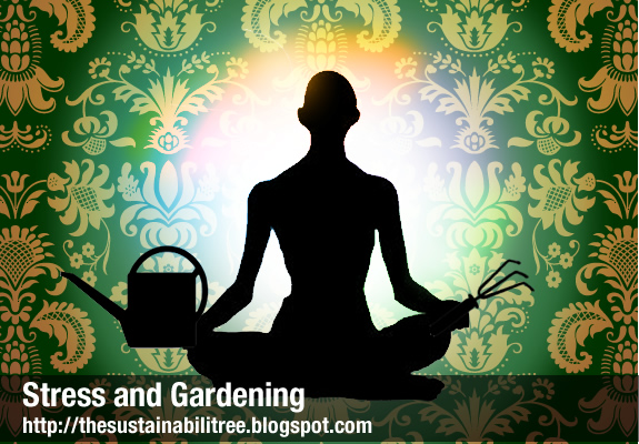 man meditating with gardening tools