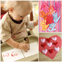 Toddlers enjoy making easy and colorful Valentine crafts
