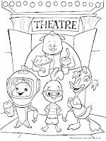 Gambar Mewarnai Kartun Chicken Little Menonton Di Bioskop