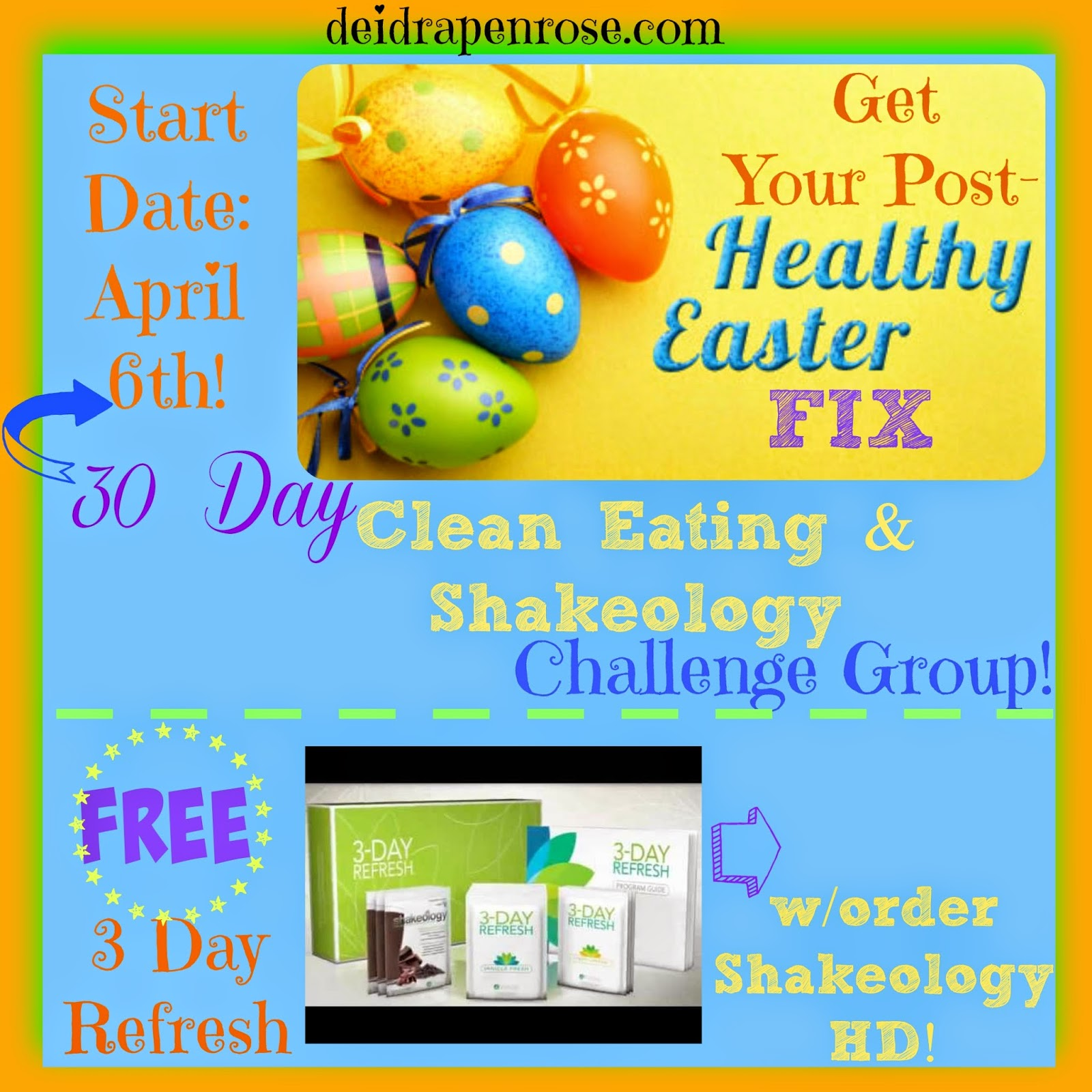 Deidra Penrose, Healthy Easter, clean eating challenge, 3 day refresh, clean eating challenge, healthy tips after easter, healthy tips after holidays,  healthy eating tips, shakeology recipes, 30 day fitness challenge, post easter healthy group, support group, challenge group, online support fitness group, team beachbody challenge, top team beach body coach harrisburg pa, top fitness coach pa, fitness motivation after holidays, weight loss summer, summer body,