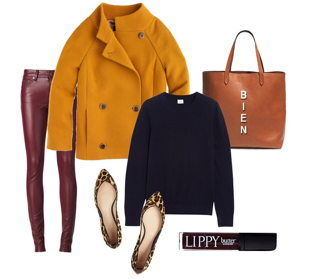 Style Board: Leather Pants, Wool Coat, Cashmere Sweater, Tote, Leopard Flats