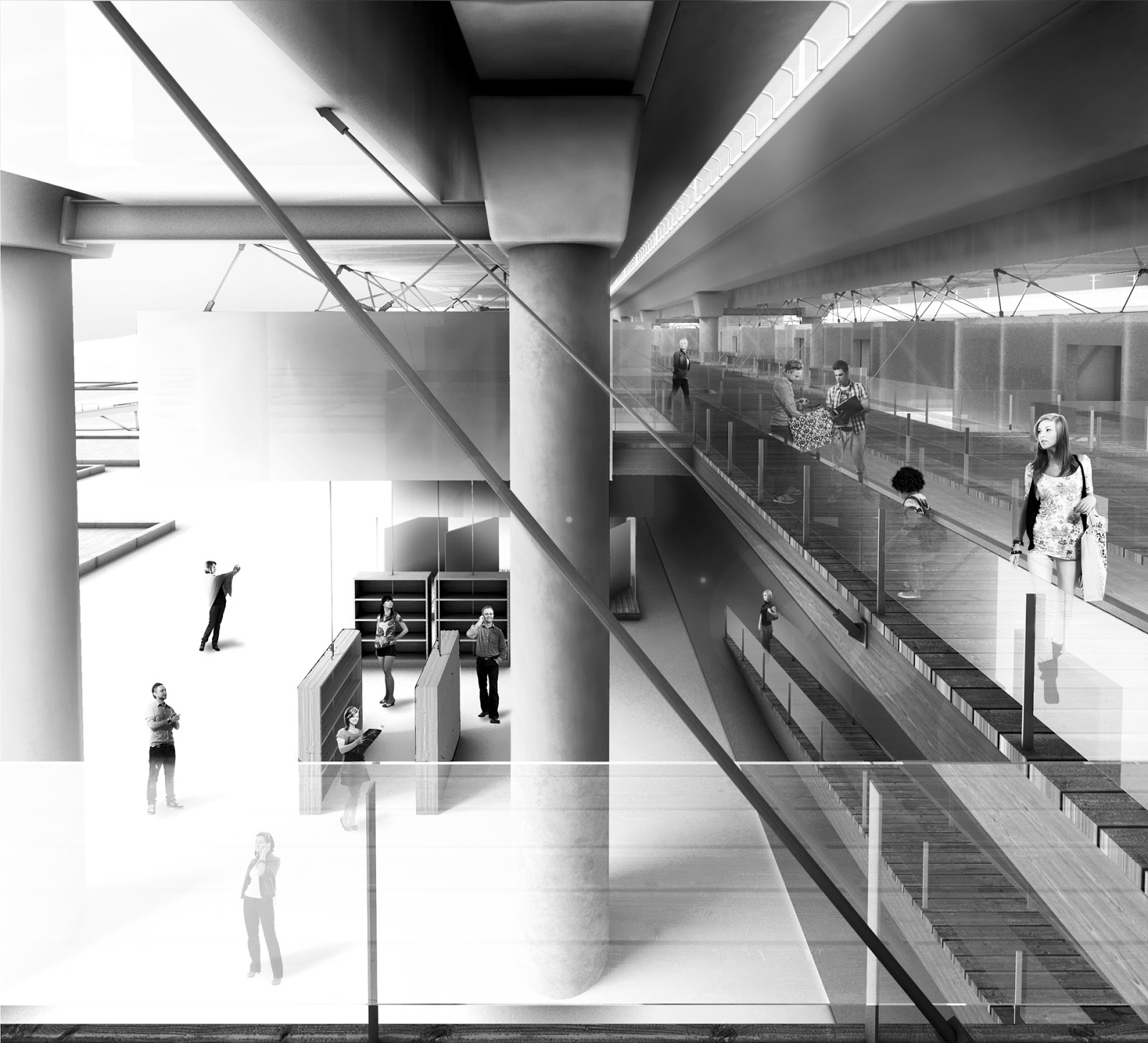 RENDERS 3D PFC - Perspectiva 3D Interior con las Pasarelas del Mercado para el PFC de un alumno de la UEM - ETSAM UEM UCJC ESAYT USPCEU USP CEU IE UAX UAH UPM ETSA