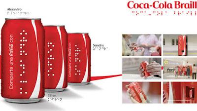 Novas latinhas Coca-Cola em Braile