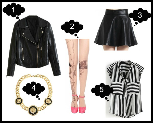 1. Biker Jacket 2. Gun Print Tights 3. Leather Skirt 4. Lion Head Necklace 5. Striped Blouse - ROMWE Latest Street Fashion