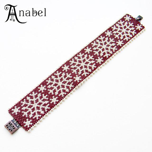 браслет новый год зимняя тематика подарок бисер Anabel