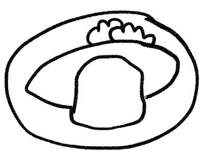 オムライス・オムレツのイラスト モノクロ線画